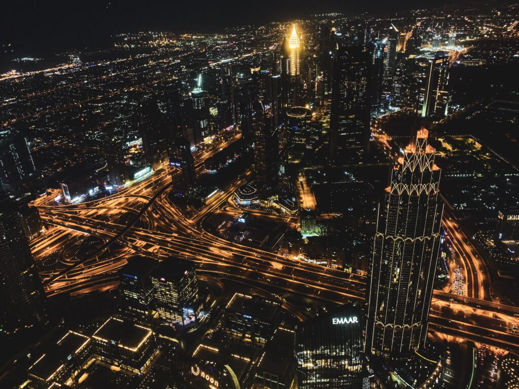 From the top of the Burj Khalifa at night
