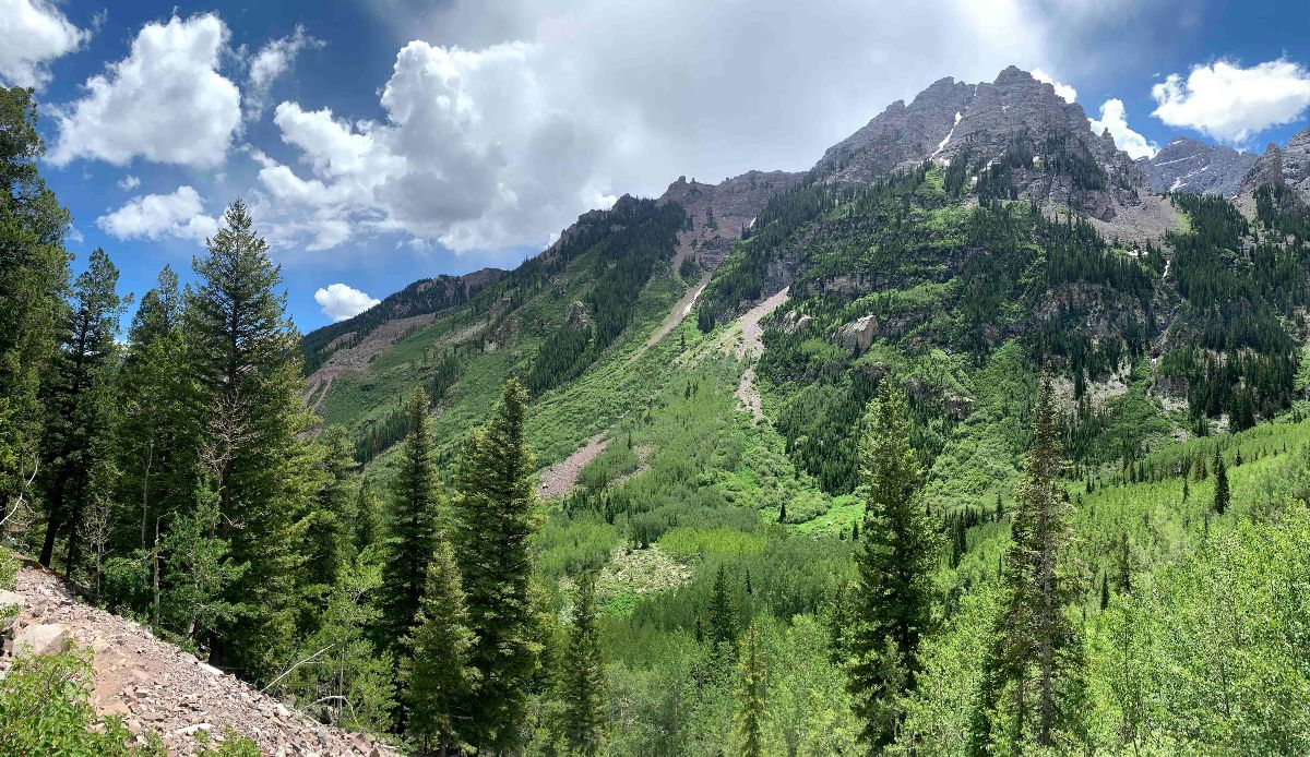 View of Maroon Bells neighboring hills from Crater Lake Trail