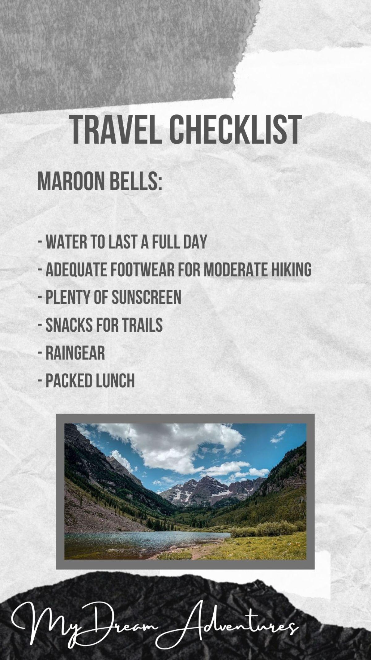 Maroon Bells Travel Checklist
